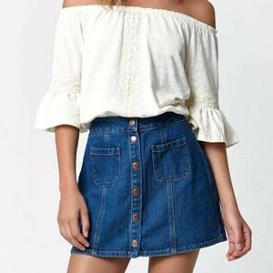 BULLHEAD DENIM CO Pacsun Button Front Denim Skirt